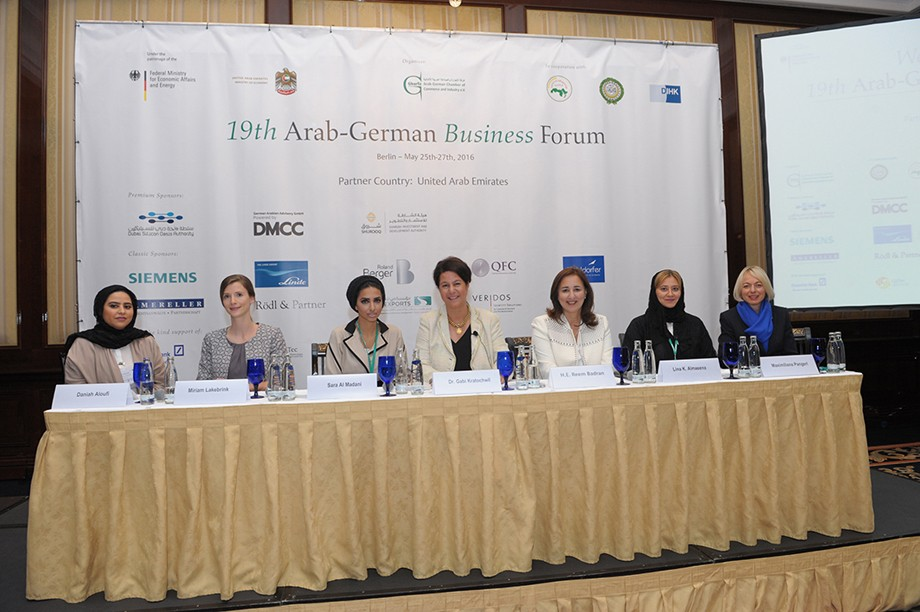 v.l.: Daniah Aloufi (DB International), Miriam Lakebrink (German Arabian Business Center) Sara Al Madani (Sharjah Chamber of Commerce & Industry) Dr. Gabi Kratochwil (CrossCultures), Reem Badran (Amman Chamber of Commerce and Industry), Lina Almaeena (Jeddah United Sports Company), Maximiliana Pangerl (Muehldorfer GmbH).