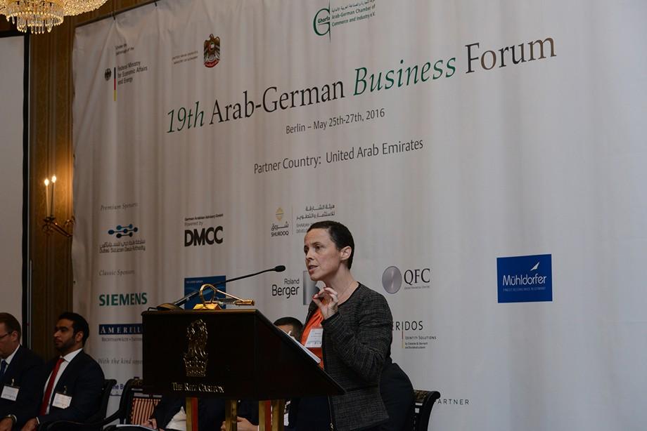 Krysta Fox (DMCC Free Zone) spricht beim 19. Ghorfa Wirtschaftsforum 2016