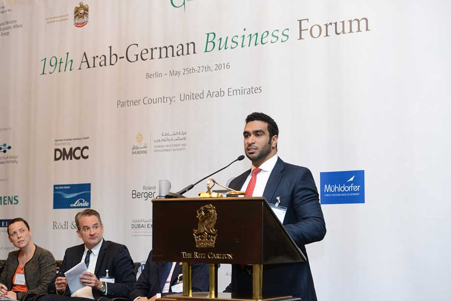 Mohamed Al Musharrakh (Sharjah Investment and Development Authority) spricht beim 19. Ghorfa Wirtschaftsforum 2016