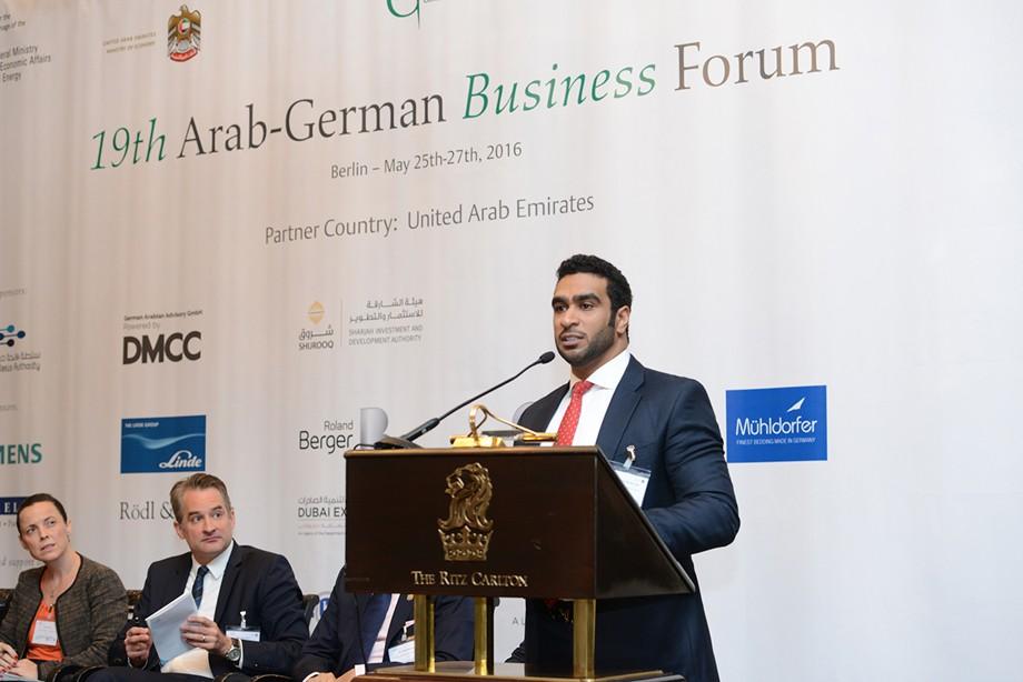 Mohamed Al Musharrakh (Sharjah Investment and Development Authority) spricht beim 19. Ghorfa Wirtschaftsforum 2016