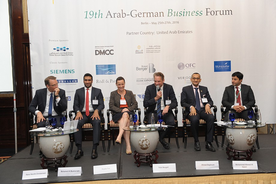Hans Henrik Christensen (Dubai Silicon Oasis Authority), Mohamed Al Musharrakh (Sharjah Investment and Development Authority), Krysta Fox (DMCC Free Zone), Felix Neugart (German Emirati Joint Council for Industry and Comerce), Ahmed Baghoum (Free Zone Masdar City) und Mohammed Ahmed Al Hamri (Dubai Silicon Oasis Authority)